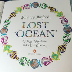 """Always gotta start with the title page (especially the @penguinusa logo) @johannabasford #lostocean #coloring #coloringbook"""