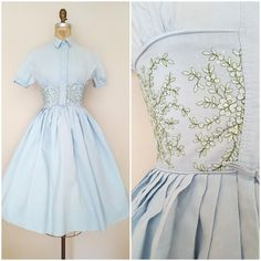 Vintage 1950s Dress / Baby Blue Shirtwaist / Floral Embroidery / XS-Small