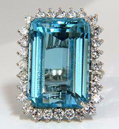 "GIA Certified 33.85ct Natural ""Blue"" Aquamarine & 1.50ct diamonds ring cocktail"