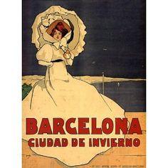 "Vintage Travel Poster from Barcelona. Reads, ""Barcelona: City of Winter."" Art Nouveau www.it/en Travel Ads, Travel And Tourism, Travel Guide, Travel Destinations, Alphonse Mucha, Vintage Travel Posters, Vintage Ads, Vintage Signs, Belle Epoque"