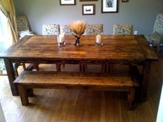 Farmhouse Table With Bench. Perfect Dinning Room Table For My Medium Sized  Family. I Love This Bench And Table!