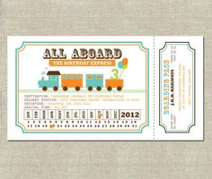 Train Ticket Invitation Free Template Birthday Pinterest