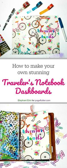 How to Make Your Perfect Traveler's Notebook Dashboards Traveler's Notebook Dashboards for your Bullet Journal, Travel journal, planner, or art. Bullet Journal Travel, Bullet Journal Art, Bullet Journal Inspiration, Journal Ideas, Travel Journals, Bullet Journals, Junk Journal, Travelers Notebook, Make Your Own