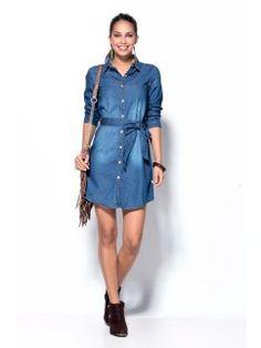 Vestido vaquero mujer manga larga con cinturón Jeans Store, Casual, Ideias Fashion, Shirt Dress, Denim, Fitness, Shirts, Outfits, Animal