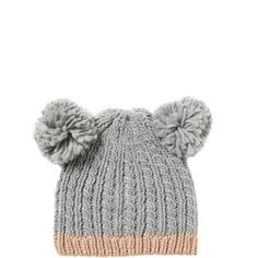 Bear Beanie ($9.95) ❤ liked on Polyvore featuring accessories, hats, headwear, bears beanie, cotton beanie hats, pompom hat, cotton beanie caps and beanie hats