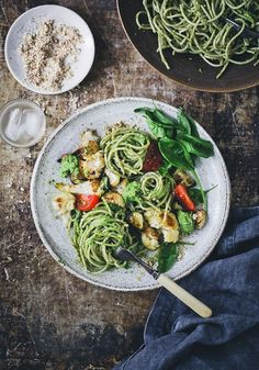 Cauliflower, zucchini and almond 'cheese' sauce pasta