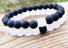 COUPLES  YINYANG Bracelet Black and White Bracelets Set Of Two Bracelets Gemstones Matte Onyx White Snow Quartz Unisex Stretch Bracelets (39.95 USD) by BohemianChicbead