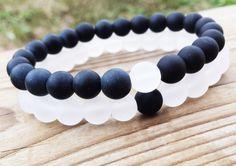 COUPLES  YINYANG Bracelet Black and White Bracelets Set Of Two Bracelets Gemstones Matte Onyx White Snow Quartz Unisex Stretch Bracelets (39.95 USD) by BohemianChicbead
