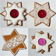 Mézeskalács mécsestartók Xmas Cookies, Sugar Cookies, Christmas Holidays, Christmas Decorations, Biscuits, Hungarian Recipes, Royal Icing, Holiday Treats, Gingerbread