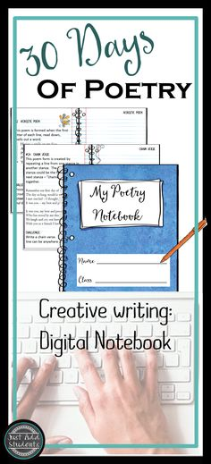 30 different poem forms your students can use!  From acrostic to octavia rima...each poem form includes directions, poem form, and example.  Digital notebook is easy to use.  Students type directly into the file.  Creative writing, National poetry month, or literacy centers -- creative fun!