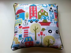Organic Pillow Featuring Busy Colorful City by PoppintreeHollow, $19.00