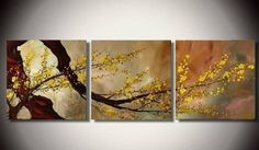 Flower Abstract Wall Canvas Art Sets Painting for Home Decoration 100% Hand Painted Oil Painting Modern Art Large Canvas Wall Art Shipping 3 Piece Canvas Art Unstretch and No Frame