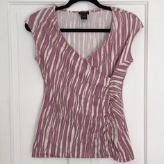 Ann Taylor purple stretchy top {•} Lavender, gray, and white patterned top gathers at one side and is sleeveless. Stretchy, soft, and comfortable shirt. Great for layering. Ann Taylor Tops