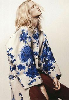 Large blue oriental flower pattern