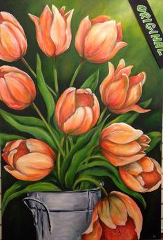 """Painting by Jori Joriginals.ca """"Spring Time Tulip Pail"""" 30x44"""""""