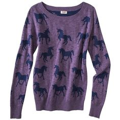 Mossimo Supply Co. Juniors Long Sleeve Unicorn Sweater - Purple (€20) ❤ liked on Polyvore featuring sweaters, tops en jumpers