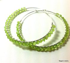 Peridot Hoops Large Sterling Silver Hoops Tender by maggiesjewelry