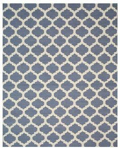 Hand Knotted Blue/Ivory Area Rug