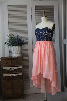 Navy Blue Lace Coral Chiffon Hi Low Bridesmaid Dress/Prom Dress/Wedding Dress Strapless Knee Length Short Dress Party Dress on Etsy, $99.00