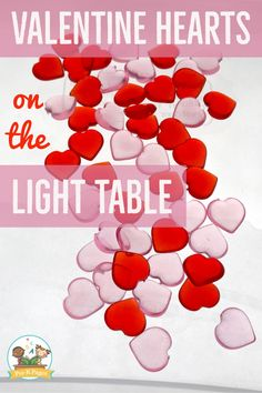 Valentine's Day light table activity for your preschool, pre-k, or kindergarten classroom. Use Valentine hearts to make letters on the light table and promote letter learning with this fun hands-on activity. Preschool Valentine Crafts, Valentine Sensory, Valentine Activities, Valentine Theme, Preschool Themes, Kids Learning Activities, Learning Letters, Valentines, Valentine Hearts