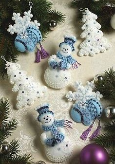 Snowflake Snowman Felt Applique Christmas Ornaments Kit Bucilla 86094 for sale online Christmas Stocking Kits, Felt Christmas Stockings, Felt Christmas Ornaments, Christmas Sewing, Christmas Tree Decorations, Blue Christmas, Snowman Ornaments, Christmas Projects, Felt Crafts