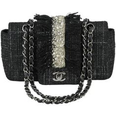 """Preowned Chanel Circa 2005 Black Tweed, Fringe And Vertical 1""""... (€2.965) ❤ liked on Polyvore featuring bags, handbags, black, structured shoulder bags, structured purse, shoulder handbags, fringe handbags, structured handbags and handbag purse"""
