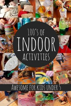 Hundreds of fun indoor activities for kids (awesome for kids under rainy day activities Indoor Activities For Toddlers, Craft Activities For Kids, Infant Activities, Crafts For Kids, Motor Activities, Summer Activities, Outdoor Activities, Activities For 4 Year Olds, Nanny Activities