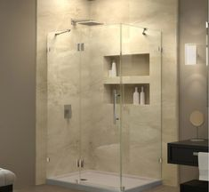 DreamLine Quatra Lux H x to W Frameless Hinged Brushed Nickel Shower Door at Lowe's. The Quatra Lux fully frameless hinged shower enclosure has an exquisite modern design and sleek lines to instantly upgrade any bathroom space with Bathroom Layout, Basement Bathroom, Bathroom Ideas, Bathroom Cost, Bathroom Plumbing, Bathroom Organization, Remodel Bathroom, Marble Bathrooms, Small Bathrooms