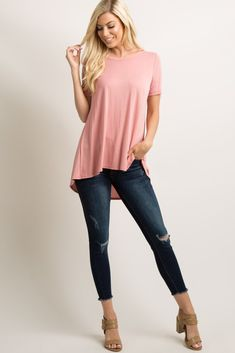 Pink Solid Pleated Peplum Back Top Pink Top Outfit, Blush Pink Top, Maternity Tops, Hemline, Moon Lee, Peplum, Short Sleeves, My Style, Diva