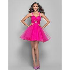 Short. But Cute! A-line Princess Straps Short/Mini Tulle Coktail Dress (635918) – USD $ 99.99