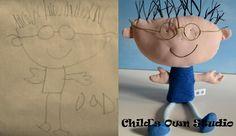 doudous réalisés à partir de dessins d'enfants