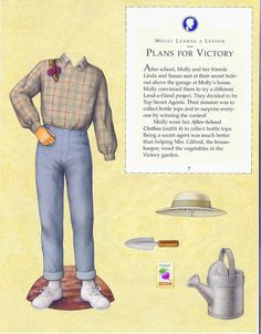 Molly's Paper Dolls an AMERICAN GIRL by Pleasant Company Publications, 1992: Page 7 (of 26). Even pages are the backs of odds and contain description of outfit and possibly book page (1 through 20)