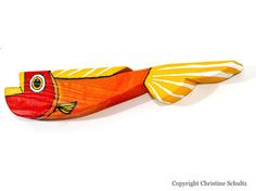 Wood Fish Decor Mississippi Folk Art Red Orange by TaylorArts