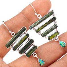 Green Tourmaline Rough 925 Sterling Silver Earrings Jewelry SE113708 | eBay