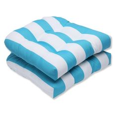 Pillow Perfect Cabana Turquoise Stripe Wicker Seat Cushion - Set of 2 - 565897