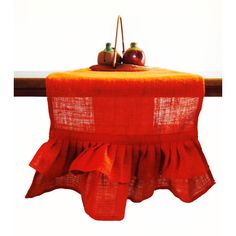 Orange Ruffled Burlap Table Runner -Ruffled Runner -Natural Ruffles... (1,505 INR) via Polyvore featuring home, kitchen & dining, table linens, orange table linens, burlap runner, orange table runner, thanksgiving table linens and autumn table linens