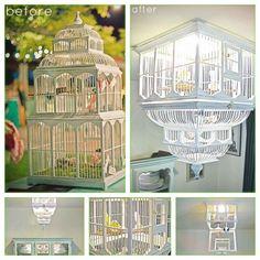 Reuse wedding decor!  Birdcage chandelier #DIY