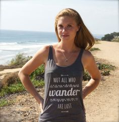 Not All Who Wander Are Lost // Hippie Arrow & Aztec pattern // Inspirational Typographic Screenprint // Hipster Ladies / Girls Gray Tank Top by Clarafornia via Etsy, $30.00