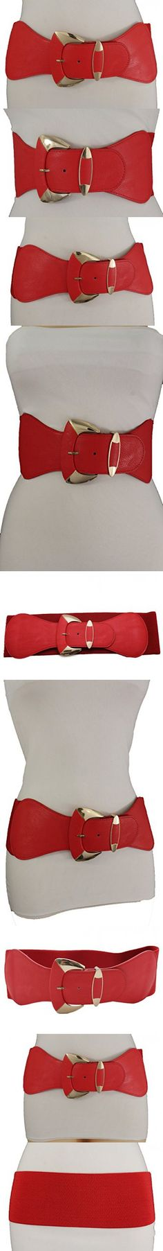 b35590d4d5 TFJ Women Fashion Wide Belt Elastic Hip High Waist Gold Metal Buckle Fits S  M Red