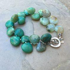 Ombre Bracelet, Green Moss Opal Bracelet, Dancing Teardrop Bracelet, 7 inch