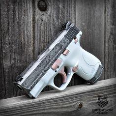 Smith & Wesson M&P Shield with Custom engraving and Cerakote Firearms Custom Armas Airsoft, M&p Shield 9mm, M&p 9mm, Glock 9mm, Pink Guns, Custom Guns, Fire Powers, Cool Guns, Guns And Ammo