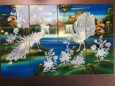 "32"" X 20"" Peacocks Vintage-Mid-Century 4 Panels Japanese Asian Wall Art Lacquer 