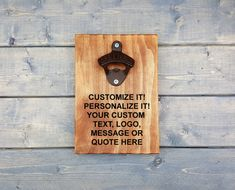 Personalized Wall Beer Opener, Wall Bottle Opener, Custom Engraved, Bottle Opener, Beer Opener, Man Cave, Groomsmen, Make It Your Own