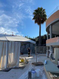 Construction Site Villa Son Vida Mallorca   studio a.s.h. Ash, Villa, Construction, Patio, Studio, Outdoor Decor, Design, Home Decor, Interior Architecture