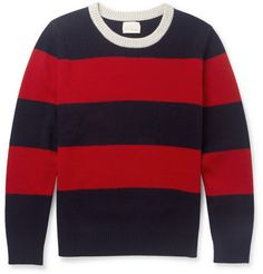 Band of Outsiders Striped Brushed-Wool Sweater   MR PORTER