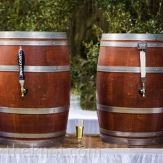 two kegs camouflaged in barrels kept the party going and brought a casual southern vibe to the reception....