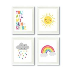 PRINTABLE You Are My Sunshine Wall Art Set of 4 | Cute Sun, Rainbow Cloud Print | Nursery Wall Decor | Instant Digital Download | Kids