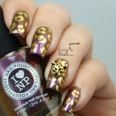 Gold Leopard Nails: Playing around with nail foil & nail charms. Nail Art. ILNP polish.