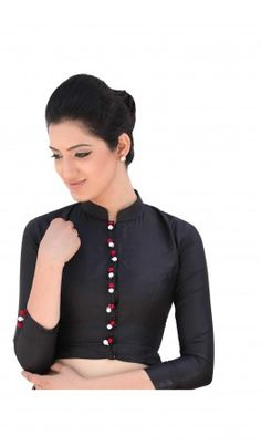 A jacket style band collar Saree Blouse Designs Full sleeved. Front open wit hidden hook and eye closure. Recommended for small to medium all body sized women. For more detail visit http://www.kbshonline.com/.