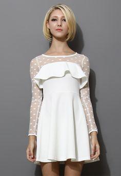 White Polka Dots Mesh Dress